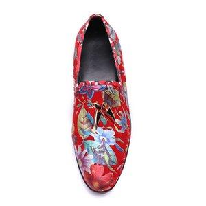 Yeni Moda Rahat Gerçek Deri yuvarlak ayak kırmızı baskı Düz Adam el yapımı ayakkabı slio-on size38-46 erkek ayakkabı sürüş