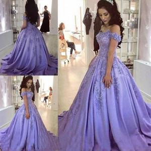 2020 elegante da lavanda escuro Prom Dresses Bola Vestidos apliques de renda Off Ela ombro partido do doce 16 Evening Quinceanera Vestidos
