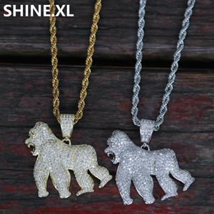 14K Or Glacé King Kong Gorilla Pendentif Collier Collier avec pendentif animal pour Hommes Femmes Bijoux Parti