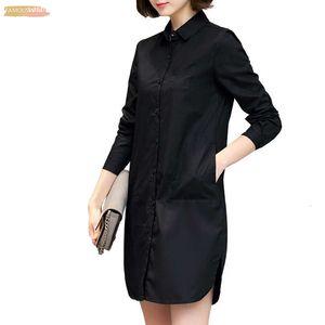 Camisa Vestido Estilo Coreano Senhoras Outono Vestido Reto Curto Manga Comprida Solto Vestido Casual Plus Size Roupas Femininas