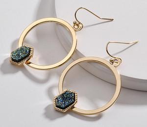 New Gold überzogenes Kendra Stil scott Sechseck Harz druzy drusy Ohrringe faux Stein druzy Ohrringe für Frauen Schmuck