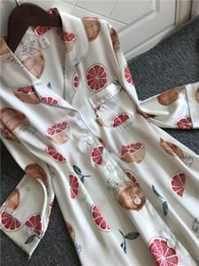 2020Spring yazlık Kadın Saten Nightgowns GECE Kadın Gevşek İpek Sleepshirts Bayanlar Yaka Pijama ile Pocket Turn-down
