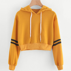 KLV Fashion Chic Donna Bambina manica lunga crop Hoodies Felpa a righe pullover casual morbido giallo Nuovo