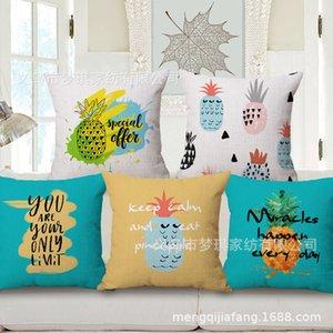 Meng Qi Textiles para el hogar Dibujos animados Piña Moderno conciso Geometría Abrazo Funda de almohada Cojín de algodón Conjunto
