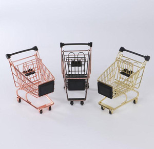 Bronze / Gold / Rose Gold Mini Warenkorb Kreative Mini Supermarkt Trolley Eisen-Metallaufbewahrungskorb für Schreibtisch-Tabelle SN997