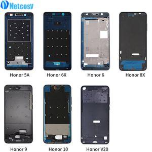 Netcosy LCD Тарелка Рамка для Huawei Honor 5A 6X Передняя Крышка корпуса средней рамки запасных частей для HUAWEI Honor 6 10 8X 9 V20