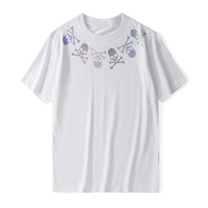 كم الصيف الرجال المصمم T قميص أزياء الرجال والنساء جديد قصير الرجال حجر الراين الجمجمة تيز