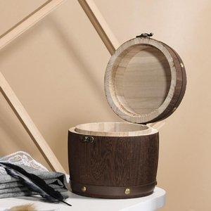 Recém Itens Mini Wooden Barrel vasilha de armazenamento Caddy Para Folha Farinha Coffee Bean Cozinha Containers # W