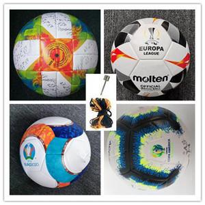 Лучшее качество Кубок Европы Футбольный мяч 2020 ПУ размер 5 шариков гранулы скольжению футбол Бесплатная доставка высокого качества мяч