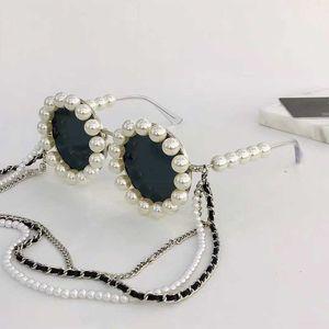 90 Rihanna même la décoration de perles de mode paragraphe envoyer un ensemble de boîte d'origine + style de cadre complet autour de la chaîne lunettes 90S