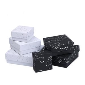 [DDisplay] Zodiac Black Box Bijoux Forever Lovers White Ring Case, Constellatory Collier boîte à bijoux, Starry Sky Bracelet Affichage