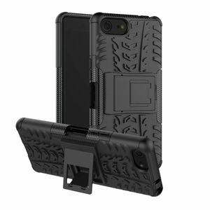 TPU + PC Çift Katmanlar Darbeye Telefon Kılıfı Için Sony Xperia XZ4 Kompakt 5.0 inç Kapak Dazzle Stripes Kickstand AntiShock Zırh Vaka