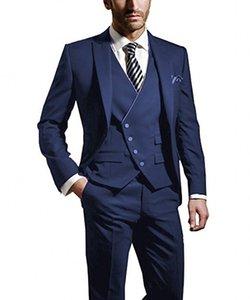 Mode Bleu Mariée Tuxedos Peak Revers Groomsmen Hommes Robe De Mariée Homme Populaire Veste Blazer 3 Piece Suit (Veste + Pantalon + Gilet + Cravate) 983