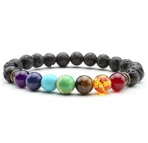 Nuovo braccialetto 10 Chakra Bracciale preghiera Uomo Nero Lava guarigione Balance Beads Reiki Buddha di pietra naturale Yoga per la nave libera donne
