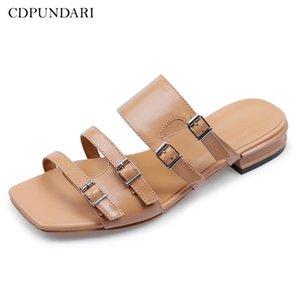 CDPUNDARI Ladies pantoufles en cuir véritable femme appartements chaussures d'été