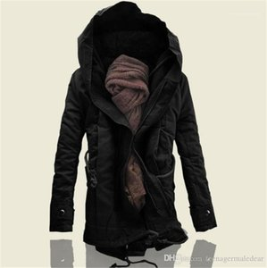 Designer Solid Color Long Sleeve Hooded Mens Outerwears Fashion Cotton Loose Male Clothing Winter Plus Size Long Mens Coats