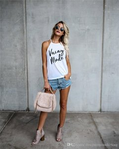 Camisas de diseñador para mujer VACAY MODE imprimir señoras verano Top fino Condole cinturón Color caramelo suelta mujeres verano adolescente camisetas