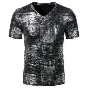 Mens Hot Stamping Printed Designer-T-Shirts Short Sleeve V-Ausschnitt beiläufige Tees Kontrast Farbe Mode-T-Shirts Herren Kleidung