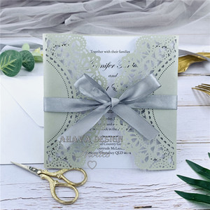Gorgeous Silver Lace Laser Cut Floral Wedding Invitation Personalized Invites With Bowtie And Matched Envelopes, Folded Invitations