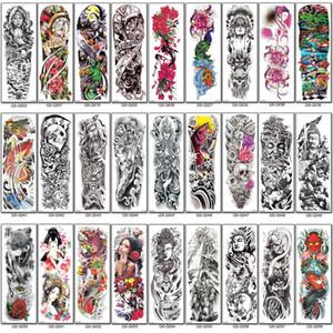 Mangas del tatuaje del brazo lleno de Buda Nueva Temporal geisha del pavo real de peonía cráneo de dragón tatuajes pegatinas tatuaje del muslo de la cintura de las mujeres de los hombres