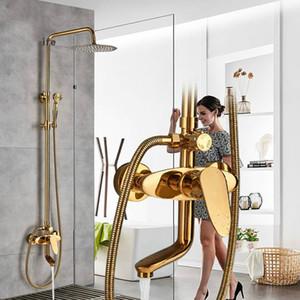 """Or salle de bains 8 """"pluie robinet de douche Set monté au mur mitigeur de douche Robinet à bec verseur mélangeurs de douche avec douche à main"""