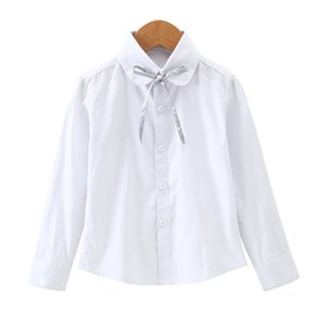 Girls Cotton Shirts For Children School Uniforms Long Sleeve Toddler Big Girls White Blouses New Autumn Bow Kids Clothes