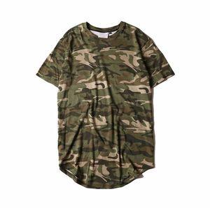 Мужские футболки расширяют нижнюю часть дуги с круглым вырезом с камуфляжной полосой Личность Летняя мода Повседневная футболка