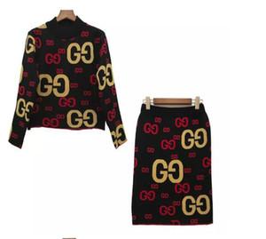 브랜드 디자이너 여성 양모 드레스 세트 2019 가을 겨울 패션 라운드 넥 긴 소매 자르기 상단과 Bodycon 스커트 두 벌의 양복 스트리트