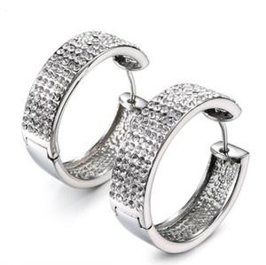 Frauen Art und Weise 316L Edelstahl Huggie Ohrring mit Kristallen Intarsien Lehm Set Strass-Band-Ohrring für Damen Blinging Ohrring