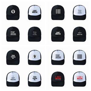Ich kann nicht Baseball-Mütze Schwarz Lives Matter Parade-Caps Outdoor-Sommer-Sonnenschutz-Hysteresen I Cant Atem Caps Party-Hüte Supplies RRA3142 Breathe