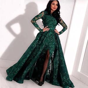 Arabe vert émeraude dentelle longues robes de soirée 2020 Manches longues de Split balayage train formel du Parti Robes de bal BC2652