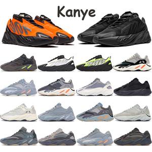Nueva Kanye 700 de los zapatos corrientes de los hombres de las mujeres Formadores Triple Utilidad Negro Vanta estático Sal de carbono Teal Blue Wave Runner Sports zapatillas de deporte