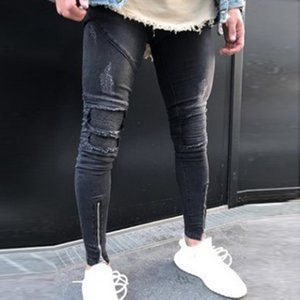 MoneRffi Yeni Erkekler Delik Ripped Kalem Pantolon Fermuarlı Skinny Jeans Pileli Patchwork Slim Fit ile Jeans Rahat Pantolon Biker Erkek kot
