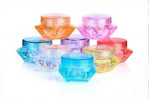 Hot vente 3g 5G forme de diamant coloré conteneurs vides échantillons bouchon à vis conteneurs cosmétiques pot boîtes pot de pots de crème de soins de la peau