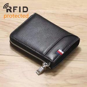 RFID Protetto Portafogli da uomo in vera pelle con cerniera di design moda uomo in pelle di mucca portamonete portamonete zero / colore nero / caffè no1156