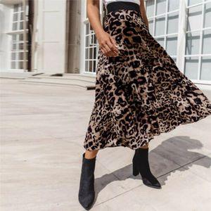 Faldas Mujeres MUJERES 2021 Mujeres Leopardo Estampado Falda plisada Señoras Elástico Elástico Partido Tobillo Vestidos