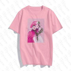 Shirt del fumetto Girl T Donne Rosa di stile coreano Harajuku estetica cotone manica corta colorati Skipoem Streetwear Abbigliamento