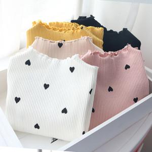 5 стилей зима новорожденных девочек с длинными рукавами О-образным вырезом любовь Сердце футболка дна рубашки хлопка детская футболка с длинными рукавами M895