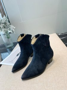 Concise 2019 Autumn Suede Short Boots Women Chunky Heel Knight Boots Fashion Pointed Toe Slip On Ankle For Women