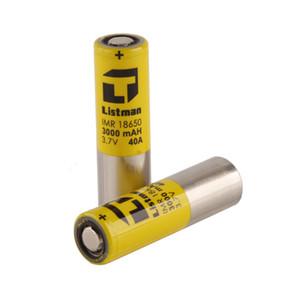 Оригинал Listman IMR 18650 Батарея 3000mAh Оригинал 40А литиевая батарея Flat Top желтый 100% Authentic