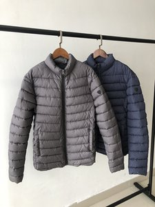 As28 2019 Men Solid Color Casual Cotton-padded Jacket Coat Fashion Business Casual Winter Warm Stand Collar Cotton-padded Clothe