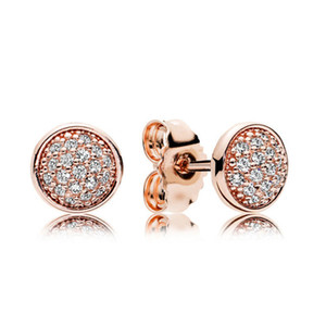 18K Rose Gold Stud Pendiente caja original para Pandora 925 Silver Crystal CZ Pave Earrings Set para mujer accesorios de moda al por mayor