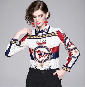 Top ventes Printemps automne piste Chemises d'impression simple de femme Blouses Bureau élégant Sexy Lady bouton Slim avant impression col Chemises