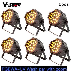 6pcs Livraison gratuite RGBWA-UV Stage Lavage par étage avec zoom 18W * 18 LED Wash Light DMX PAR CAN W / ZOOM