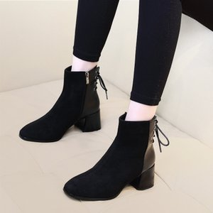 블랙 마틴 부츠 여성 조수 인은 발 뒤꿈치에 가을과 겨울 새로운 순 빨간색 레이스 업 마른 짧은 부츠를 냉각