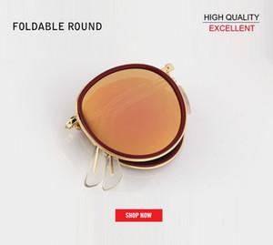 2019 CALDO Donna metallo Moda pieghevole Round 3517 occhiali da sole Donna Vintage Retro Brand Designer rosa Specchietto femminile Occhiali da sole UV400 gafas