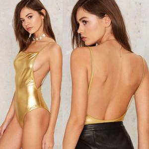 Las mujeres ropa interior atractiva del Bandge mono atractivo de la ropa interior del cuerpo reflectante sin mangas Leotardo Partido Combinación elegante traje erótico caliente