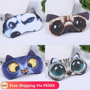 3D Cartoon Eye Mask Eyeshade Cover Shade Natural Sleeping Eye Patch Cute Cat Dog Sleep Mask Women Men Soft Blindfold Travel Eyepatch
