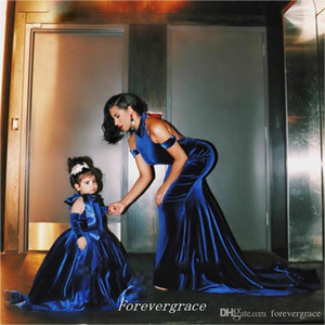 2019 New Cute Royal Blue Velvet Flower Girls Dress High Quality Floor-Length Long Special Occasion Dress Communion Dresse Pageant Dress