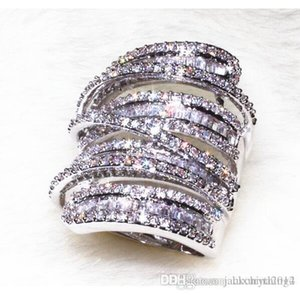 Victoira Princess Jewelry 925 Sterling Silver Pave Setting White Topaz Simulated Diamond Wedding Engagement Wide Band Ring for Women Sz5-11